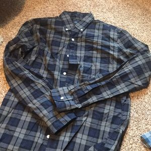 Blue plaid slim j crew shirt